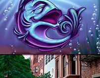 Fish Spot & Brownstone Background