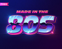 FREE | 80s Style Text Mockup