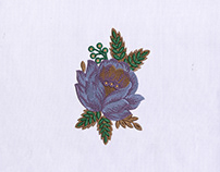 BEAUTIFUL PRECIOUS PURPLE FLOWER EMBROIDERY DESIGN