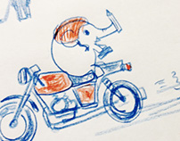 Pencil sketches Today's mood  Elephant and Motorcycle