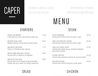Restaurant Menu - Caper