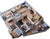 Interior design from the top view 2