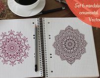 Set 6 mandala ornamental. Vector