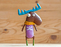 Spring moose with dragonfly ,brooch