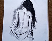 Nude Girl Body Back Charcoal Drawing | by Syed Art