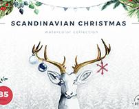 Watercolor Scandinavian Cristmas Collection