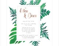 Leafy green invite design