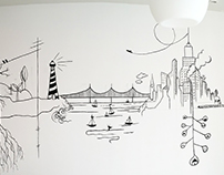 Mural línea continua