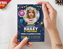 5×7 Size Birthday Invitation Card Design PSD