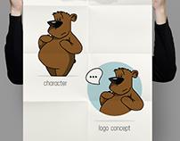 Thoughtful Bear Vector Illustration Mascot