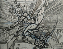 Spider-Man sketch cover in perspective