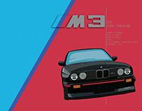 BMW E30 M3 Sport Evolution - Specification Poster
