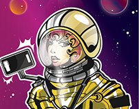 SPACE SELFIE - Vector illustration