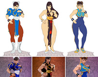 1:3 Scale Chun Li Statue Sketches