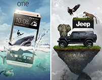 Graphic design – poster for HTC phone and JEEP
