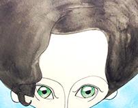 A caricature of Tilda Swinton