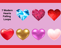 Modern Hearts Falling - Free Motion Graphics Template