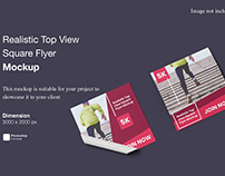 Realistic Top View Square Flyer Mockup