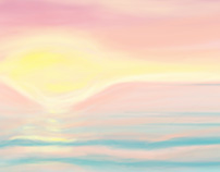 "digital painting ""sun set and sea"""