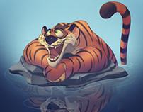 Bathed tiger
