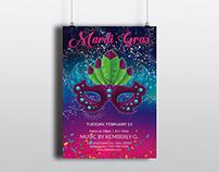 Mardi Gras Party Invitation Flyer Template