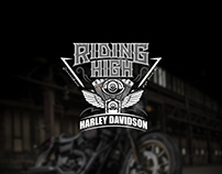 RIDING HIGH Harley Davidson Logo