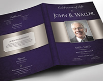 Blue Dignity Funeral Program Word Publisher Template -