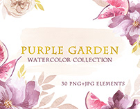 Watercolor Purple Garden set of flowers, leaves and fig