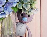 3D MODEL OF BEARS WITH HYDRANGEAS