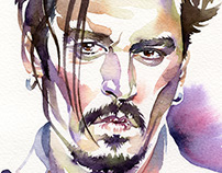 Johnny Depp watercolour portrait