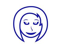 Semi-happy lady mascot. Free download.