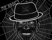 American Gods- Mr. Nancy/Anansi B&W Illustration