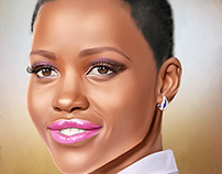 Lupita Nyong'o Digital Painting by Wayne Flint