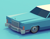 Low poly classic American vehicles