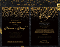 Faux Gold Foil Glitter Wedding Invitation