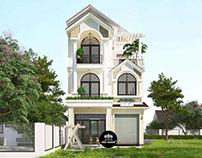 Mẫu thiết kế biệt thự 3 tầng mái thái hiện đại