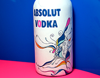 Handpainted Absolute vodka bottle