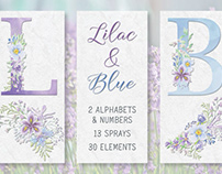 Lilac and blue watercolor floral alphabet