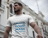 Strong Handsome Man Wearing a T-Shirt Mockup