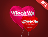 2 Free Valentine Heart Balloon Mock-ups in PSD
