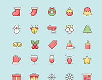 30+ Free Christmas Vector Icons Set