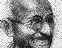 Mahatma Gandhi thread art