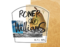 Roner Williams pear brandy (label design)