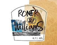 Roner Williams pear brandy (label design)