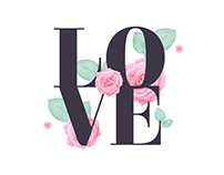 Love lettering with roses and leaves