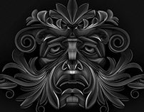 Green Man Vector Line illustration