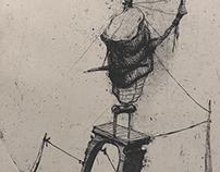 """""""Desperation prison"""" etching. 160x250mm. 2015"""