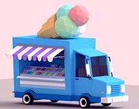 Low Poly Ice Cream Car