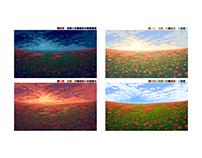 Poppy field: pixel art