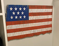 Abstract American Flag Painted on Tobacco Barn Roof